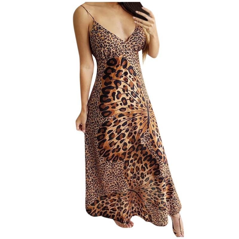 Mujeres Leopardo Mariposa Envuelva Sling Sin mangas NightClub Beach Vestido largo Ocio Verano Harajuku 2021 Nuevo