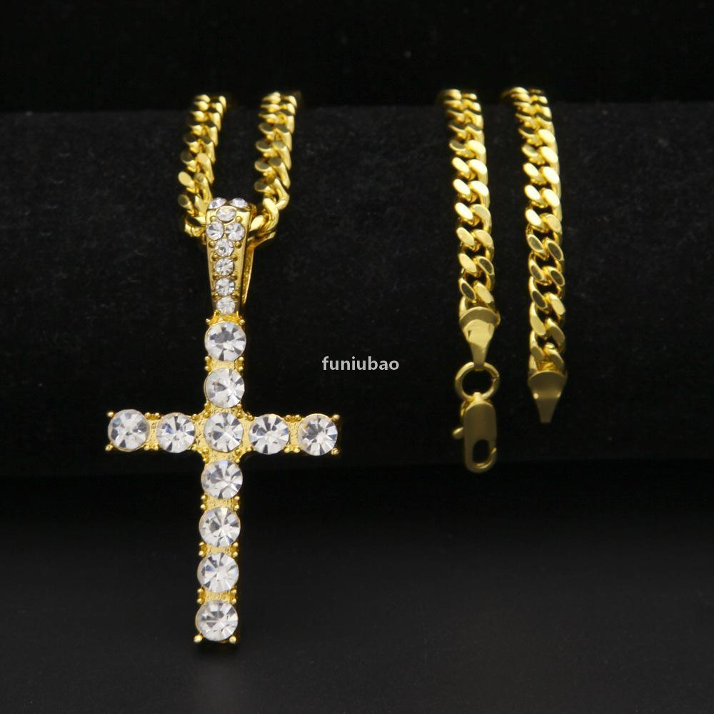 Hip Hop Gold Silver Iced Out Bling Cross Pendant Chains For Mens Jewelry With Stainless Steel Cuban Link Twist Chain Necklace