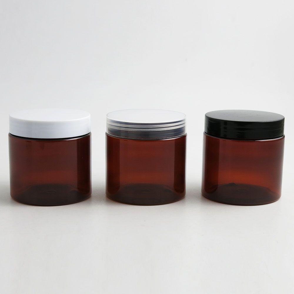 30 x 200 ml AMBER Brown Facilitatas Mascotas vacías con tapa blanca clara Black Tornillo de plástico Lids 200G BRAND CREAM BOTELLA COSMÉTICO Contenedor cosmético