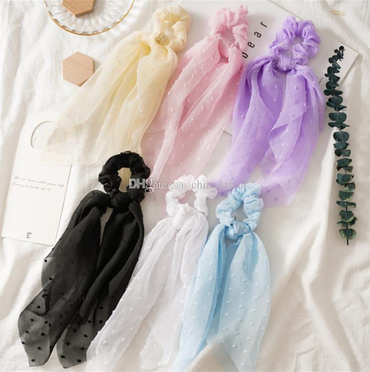 Longue foulard Scrunchies Scrunchies Bandes à cheveux Ruban Seersucker Head Bandeau Cheveux Crêties Corde Lattes de queue de cheval de gomme Filles Accessoires de cheveux 6 couleurs DW5567