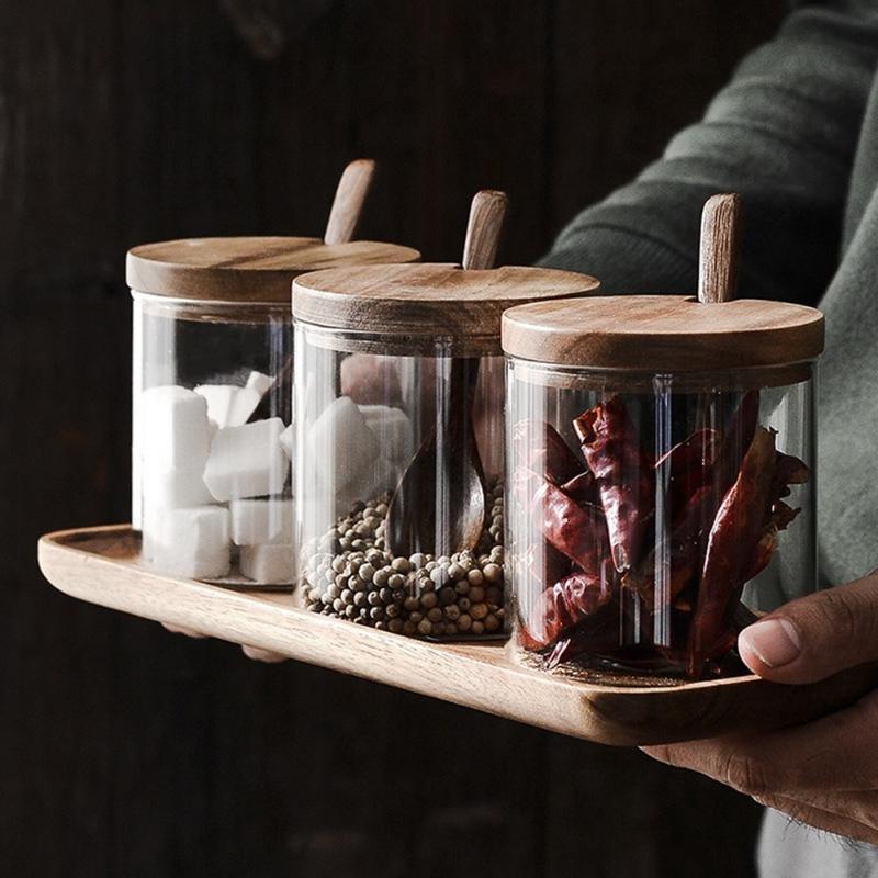 جرة التوابل الزجاج صينية خشبية مجموعة حاويات الملح السكر الجرار مع ملعقة الغطاء غطاء مربع التوابل وعاء المطبخ تخزين خزان