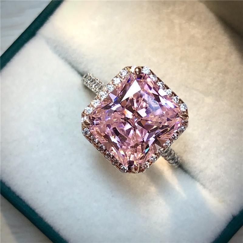 Cluster Rings Elegant 6ct Rosa Rosa Saphir Diamant Ring 100% Original 925 Sterling Silber Engagement Hochzeitsband Für Frauen Partei Schmuck