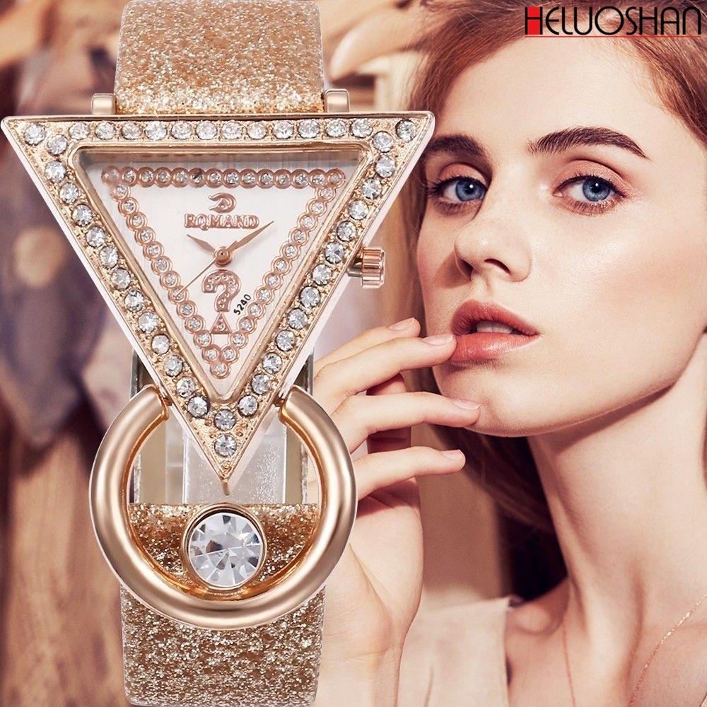 2020 Women Watches Creative Luxury Triangle Rhinestone Dial Frosted Strap Ladies WristWatch Fashion Quartz Watch Relojes Mujer C0227