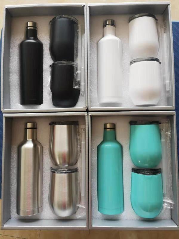 3pcs / lot 선물 패키지 와인 유리 세트 스테인레스 스틸 레드 와인 병 계란 컵 야외 절연 안경 장미 골드 블랙 화이트 청록색