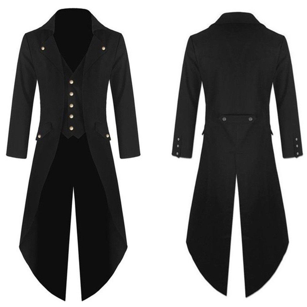 Trenchs Hommes Vintage Steam Punk Gothic Retro Coat Mode Longue coupe-vent Gabardina Hombre Larga # Guahao