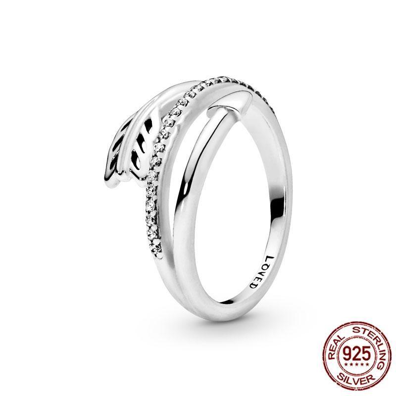 Küme Yüzük Kadın Yüzük 2021 925 Ayar Gümüş Wrap-Etrafında Ok Parmak Zirkon Kadınlar Için Düğün Nişan Takı Hediye