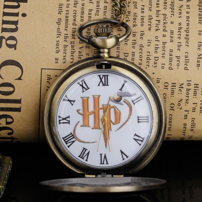 Черный / бронзовый дизайн Snitch мяч кварцевые карманные часы ожерелье цепь сжимаемые подвесные карманные часы подарок для мужчин женские часы