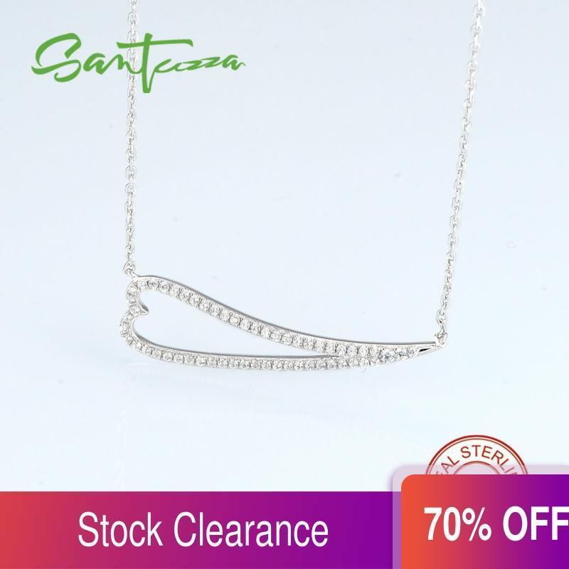 Santuzza Pure 925 Стерлинговое Серебряное Серебряное Ожерелье Для Женщины Сердце Блестящие Белые Кубические Циркония Ежедневно Модные Модные Ювелирные Изделия Q0127