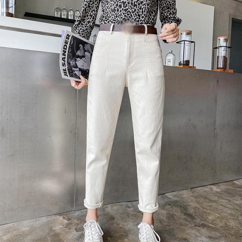 Высокая талия бежевые женщины гарема прямые джинсы брюки белая кнопка карманы джинсовые джинсовые брюки для девочек 2021 корейский японский стиль