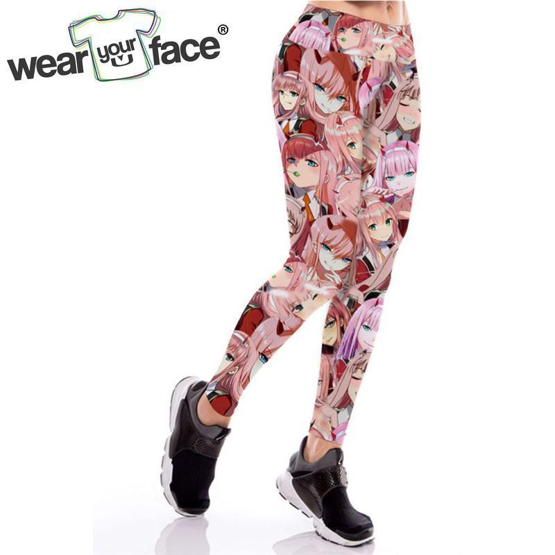 Leggings das mulheres querida no Anime Frankxx 3D em toda a legging mulheres esportivas para fitness elastic bodybuilding meninas roupas