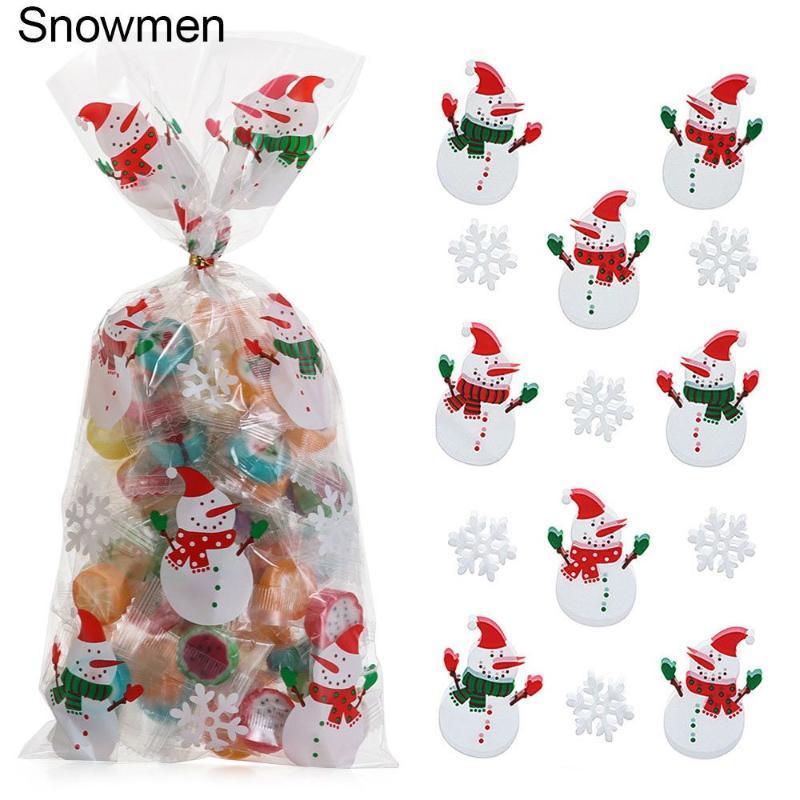 زينة عيد الميلاد 50 قطع رامي أكياس الحلوى سانتا كلوز البلاستيك علاج حقيبة عيد الميلاد السنة البسكويت هدايا مربع الديكور