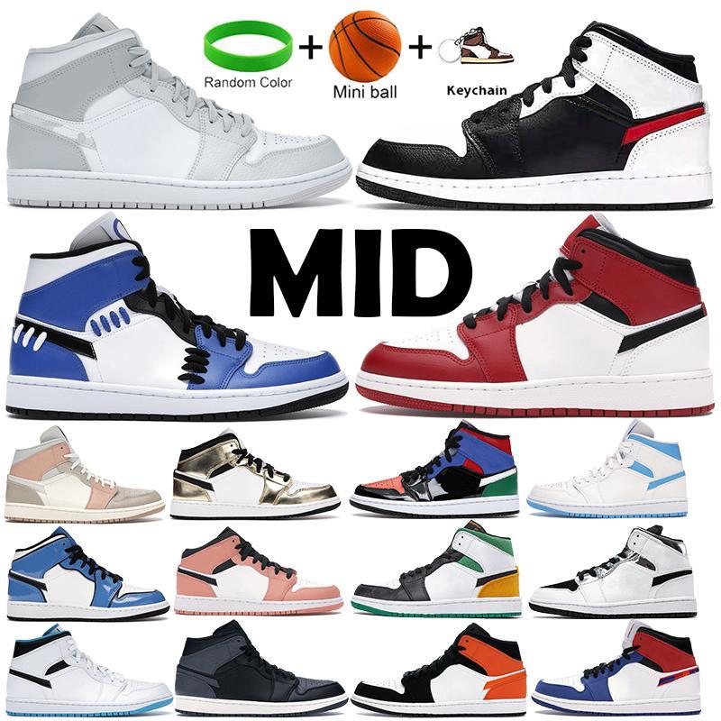أعلى جودة أحذية كرة السلة 1 1 ثانية منتصف ميلان ليزر أبيض البرتقال فولت الذهب رجل إمرأة شيكاغو إشارة الأزرق رمادي كامو المدربين الرياضة أحذية رياضية