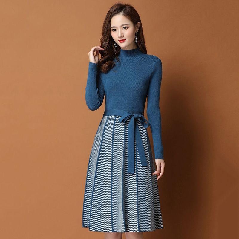 Sonbahar Kış Kadın Pileli Hem Çizgili Baskılı Kazak Elbise Zarif Kadın A-Line Elbiseler Yumuşak Kaburga Örme Elbiseler Ile Kemer 210303