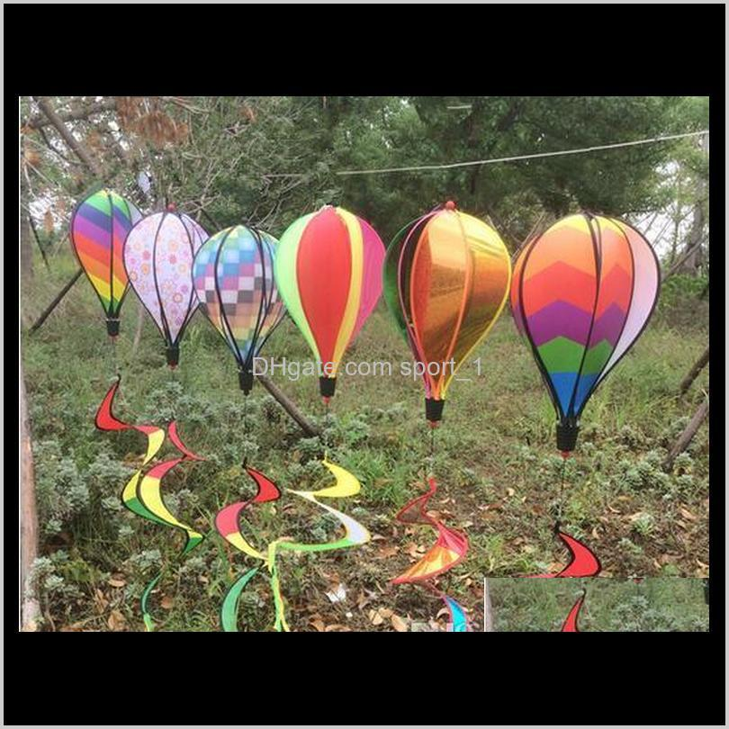 2020 Nuovo Rainbow Stripe Grid Windsock Hot Air Balloon Wind Spinner Garden Yard Decoration Outdoor Decoration in magazzino GCUEC KOBON