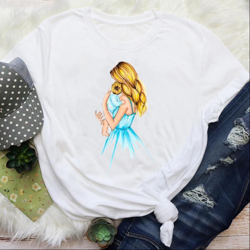 Frauen t shirts Mama Mama Aquarell Malerei 90er Jahre Mode Mutter Liebes Cartoon Grafik Tees Kleidung Druck Tops Dame Shirt