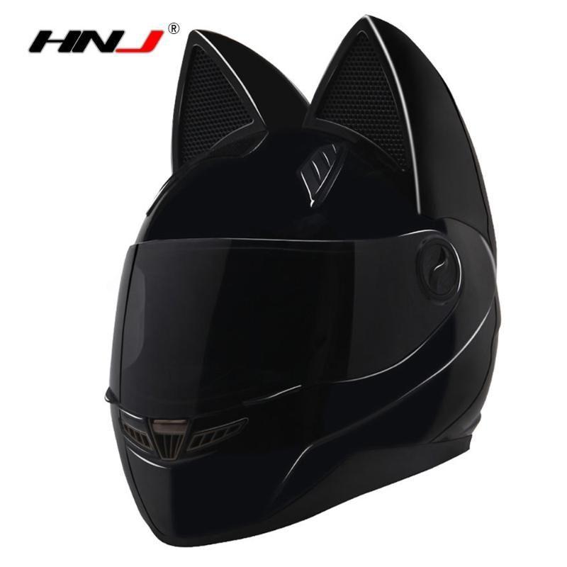 Motorradhelme Nitrinos Schwarz Helm Frauen Capacete Moto Hörner Katze Full Face Casque Casco Racing Motorrad