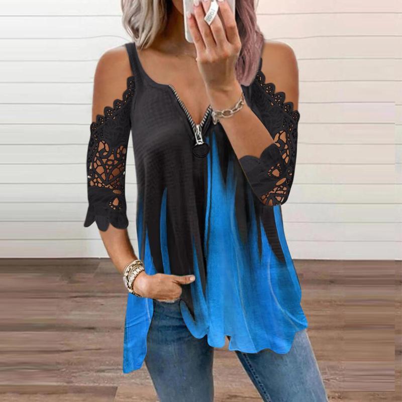 Kadın Bluzlar Gömlek Moda Gevşek Fermuar Bluz V Yaka Dantel Halter Baskı Ekleme Üst Femme Kravat Boya Baskı Artı Boyutu Kadınlar Için