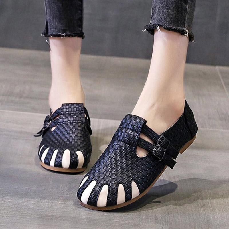 Artı Boyutu 2020 Sonbahar Kadın Flats PU Deri Örgü Oxford Ayakkabı Beyaz Rahat Ayakkabılar Çift Toka Espadrilles Bayanlar Ayakkabı 8380n