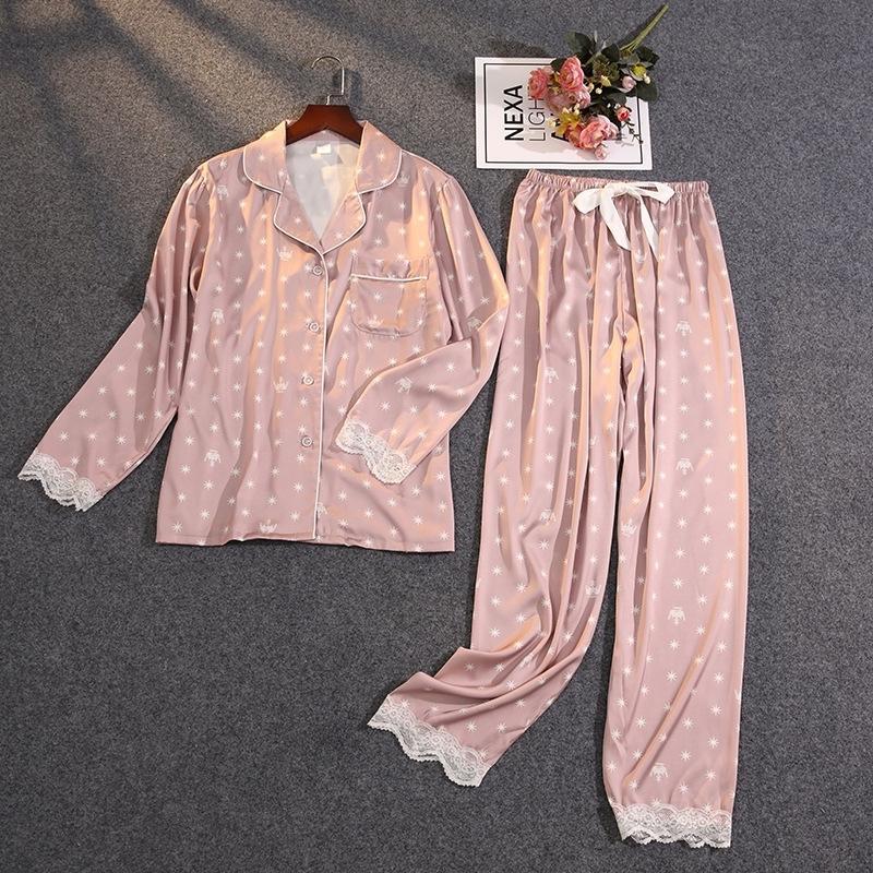 Lisacmvpnel Women's Summer Two-piece Suit Pajamas Ice Silk Satin Thin Outwear Print Lace Pyjamas 210315
