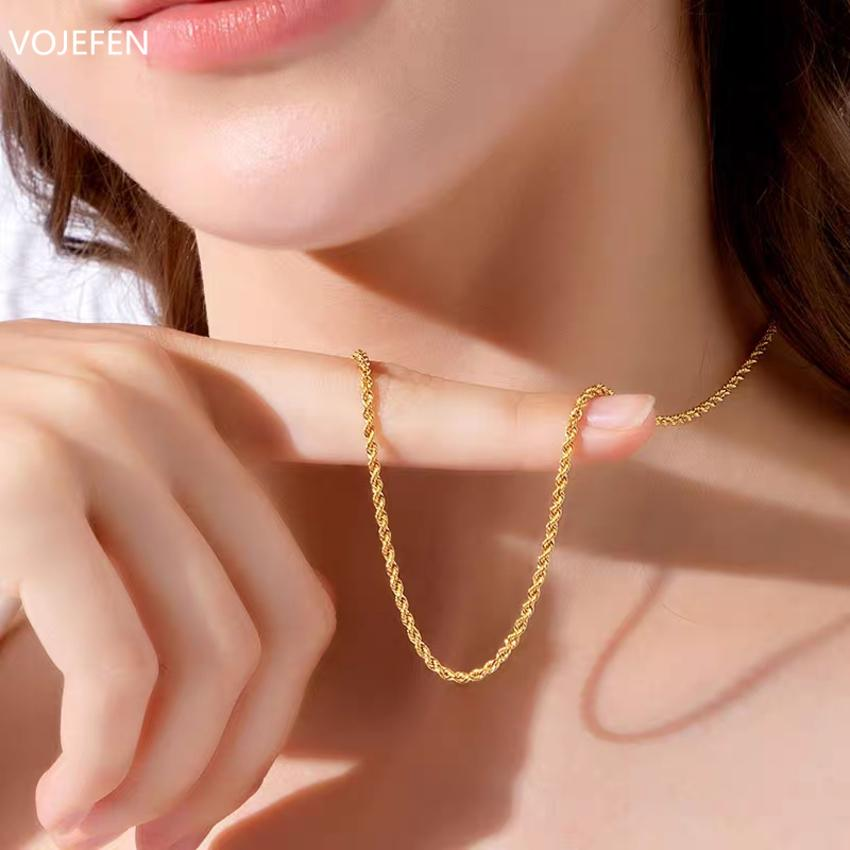 AU750 غرامة vojefen مجوهرات 18 كيلو حبل الرجال سلسلة النساء سلاسل الصفراء قلادة الذهب الحقيقي XJBX