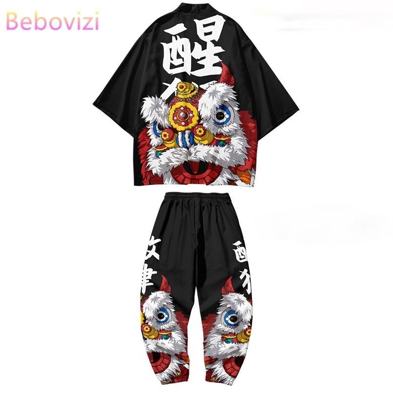 2 stücke Anzug Plus Größe XS-6XL Lose Chinesischen Stil Japanische Samurai Harajuku Kimono Strickjacke Frauen Männer Cosplay Yukata Tops Hosen Set 210603