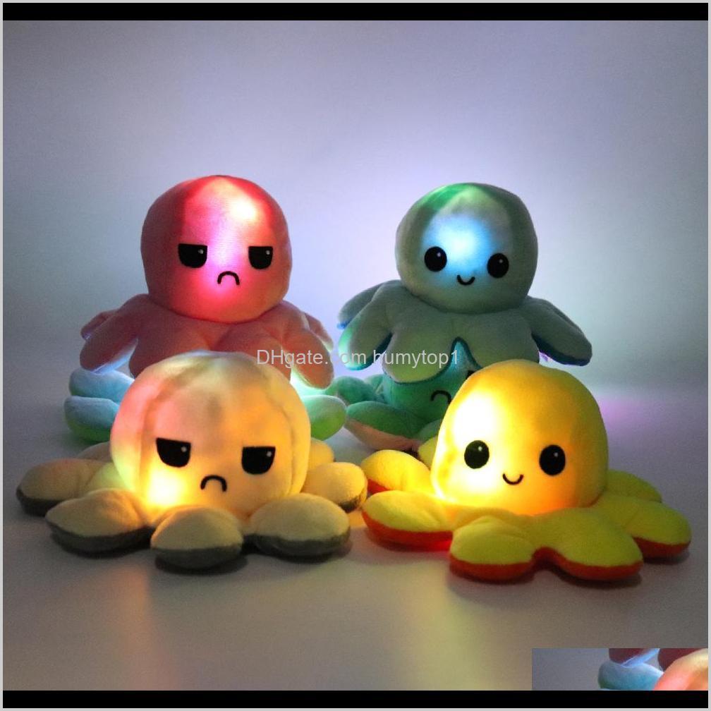 Освещенный обратимый Flip Octopus Фурсированная кукла Мягкая симуляция Обратимая плюшевая игрушка Цвета Глава плюшевая кукла заполнена плюшевая детская игрушка HFMS Neymf