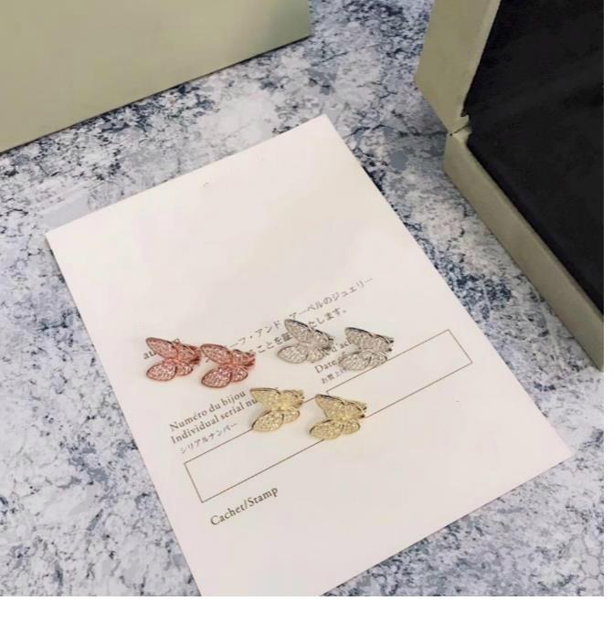 Moda-Takı Küpe S925 Ayar Gümüş Malzeme Kelebek Elmas Saplama Küpe Tasarımcı Uçan Kelebek Düğün Nişan Küpe