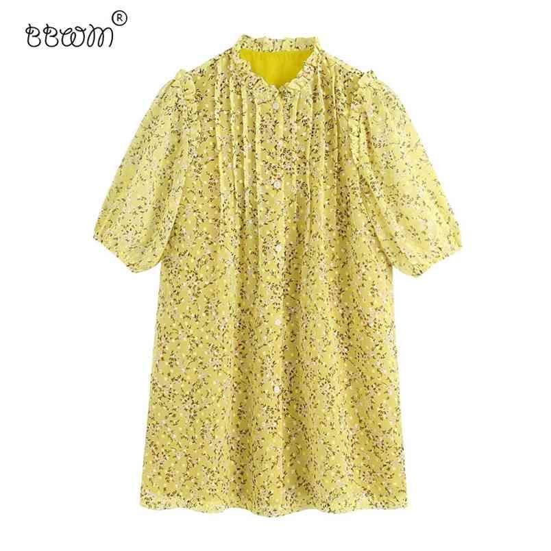 Donne Chic Ruffles Bottoni floreali stampa floreale mini abito vintage manica corta con abiti da fodera Abiti casual femmina 210531