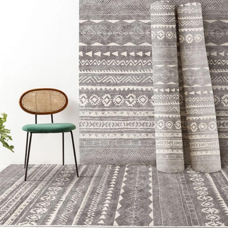 Carpets Bohemian Carpet Printed Flannel Area Rug Room Floor Non-Slip For Living Bedroom Home Decorative Tapis