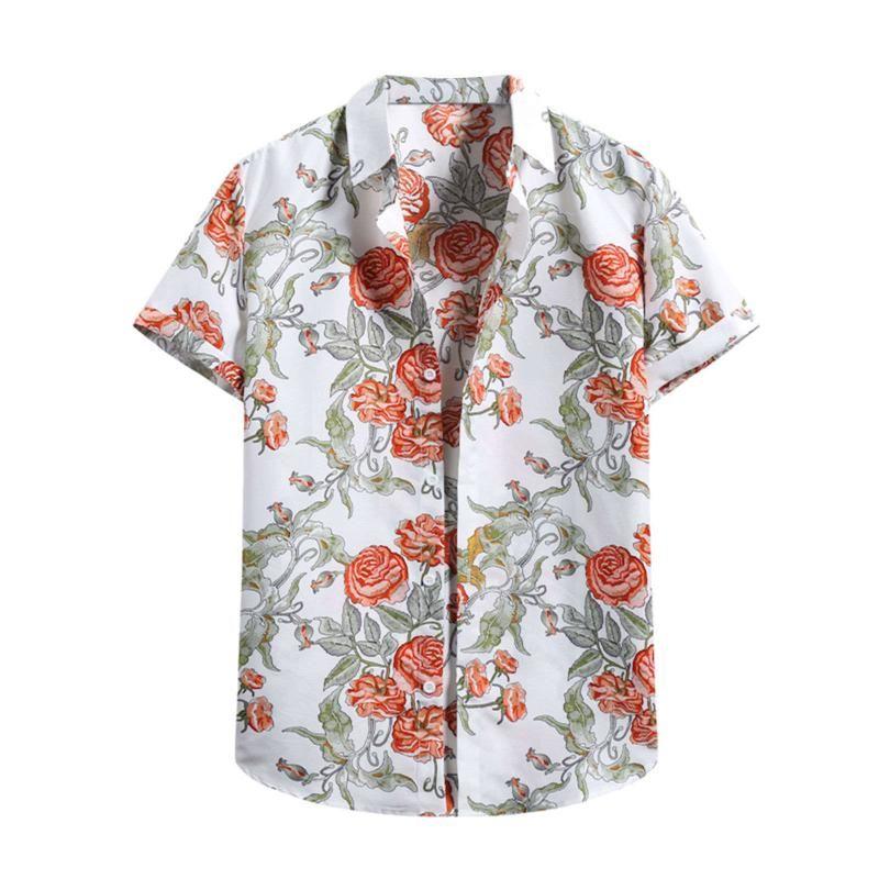 Homens do verão impresso camisa de manga curta giro colar de rua Streetwear Chic Solta Hawaiian Beach Flor Camisa de Camisa