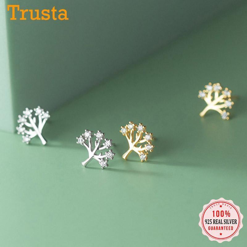 STED TRUSTDAVIS REAL 925 Стерлинговые серебро 925 Мода сладкое простое дерево CZ Charm Серьги для женщин Свадебная вечеринка Прекрасные украшения DB245