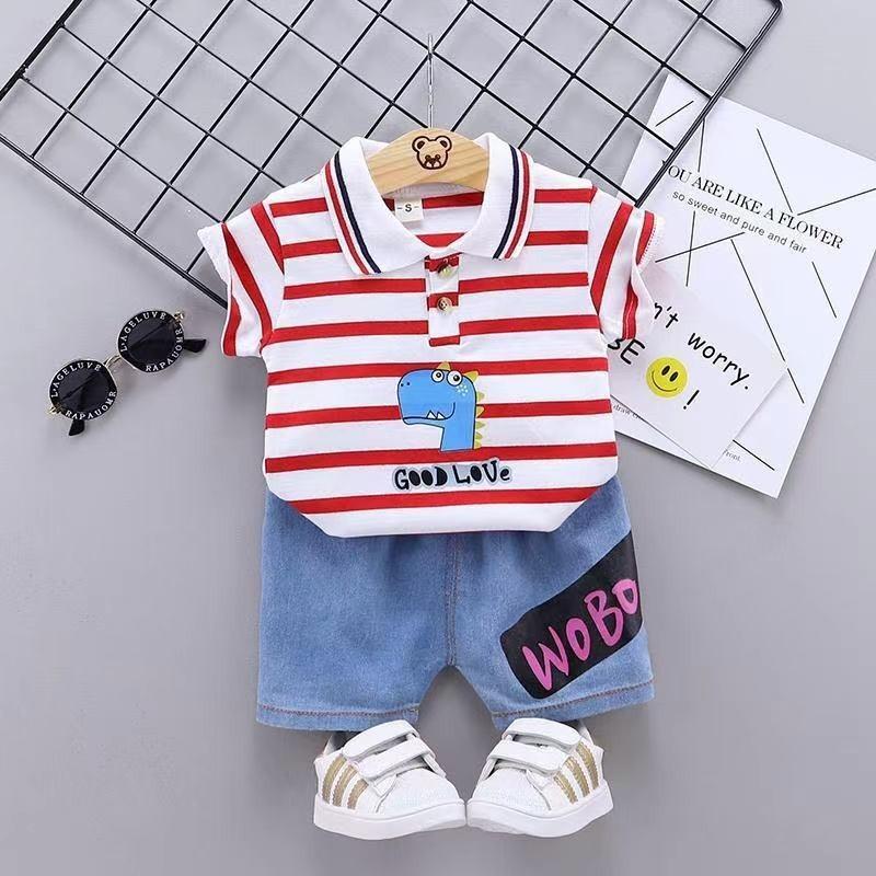 Baby Boy Cartoon Outfits Summer Kids Short Sleeve Clothes Suit 2021 New Children Dinosaur Printed Tee Shirt + Shorts 2pcs Sets C6899