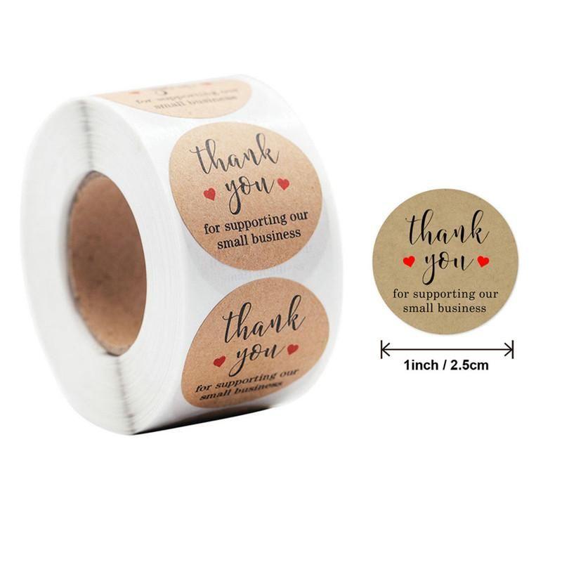 Geschenk Wrap 500 teile / Rolle Runde danke Hand gemacht mit Liebesetiketten Kraftaufkleber DIY Handwerk Box Kuchen Süßigkeiten Papier Tags
