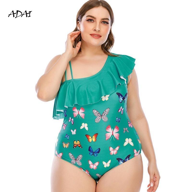 Купальник One Piece Plus Размер Бабочка Принт Push Up Купальники Женщины Монокини Сексуальная Одно плечо рюшачья купание