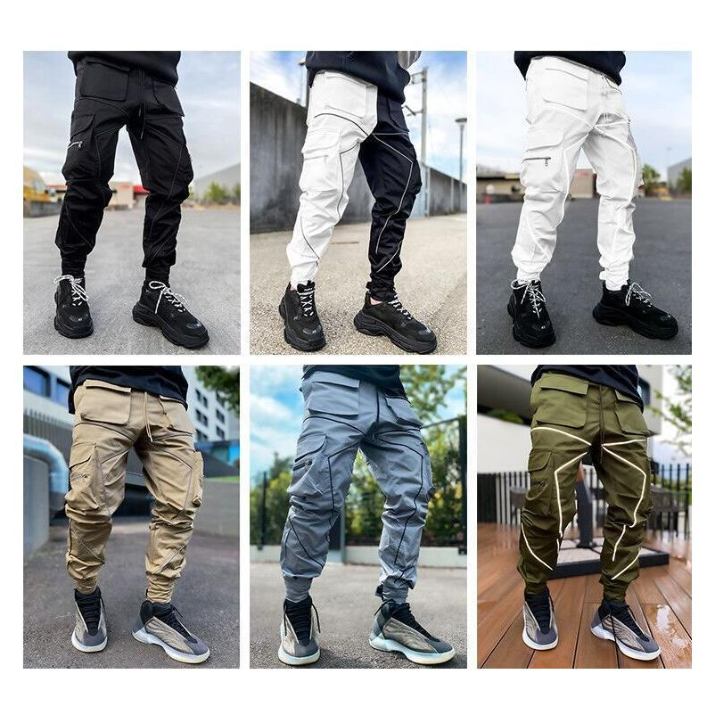 Men's Reflective Night Running Sport Pants Side Pockets Cargo Harem Pant Joggers Trousers Fashion Casual newest