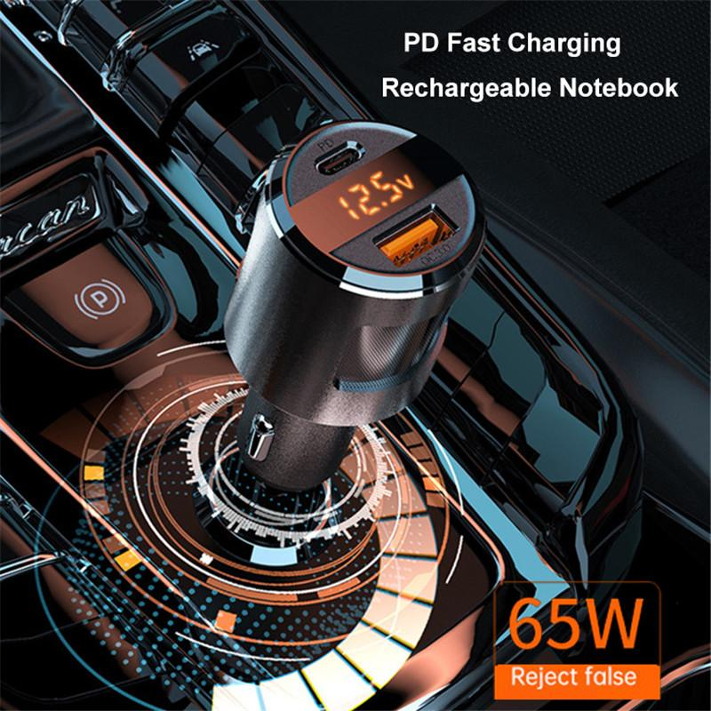 SC01 65W PD USB Quick Charge USB-C Car Charger QC3.0 Type C Fast Charging Phone Adapter for iPhone Samsung Huawei
