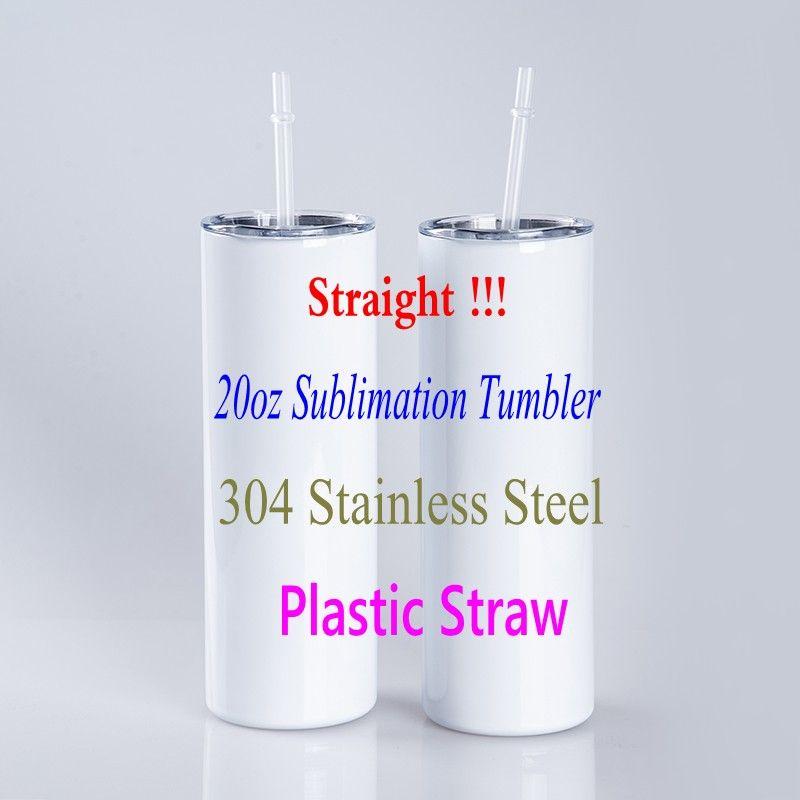 Palha plástica 20oz de sublimação em linha reta Tumblers 304 aço inoxidável em branco em branco Bolsa de garrafa de água de cilindro alto
