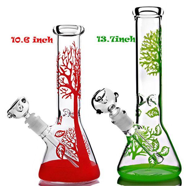 똑 바른 물 담뱃대 유리 얼음 버블 러 붉은 노란색 나무 봉제 recycler 오일 장비 만화 dab rigs 유리 물 봉 14.4 mm 그릇