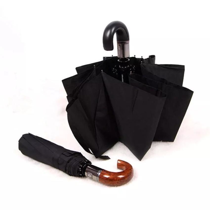 Marka Deri Paloni Kavisli Kolu Erkekler Otomatik İş Şemsiye Erkek Rüzgar Geçirmez Siyah Büyük Oto Şemsiye Şemsiye Yağmur Paraguas GS31