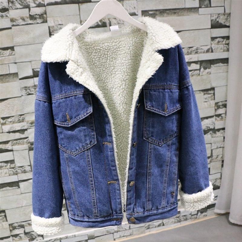 Veste de jeans de fourrure chaude hiver Femmes bombardier veste bleu veste en jean femme manteau femelle avec doublure chaude chaude frontale poches plates