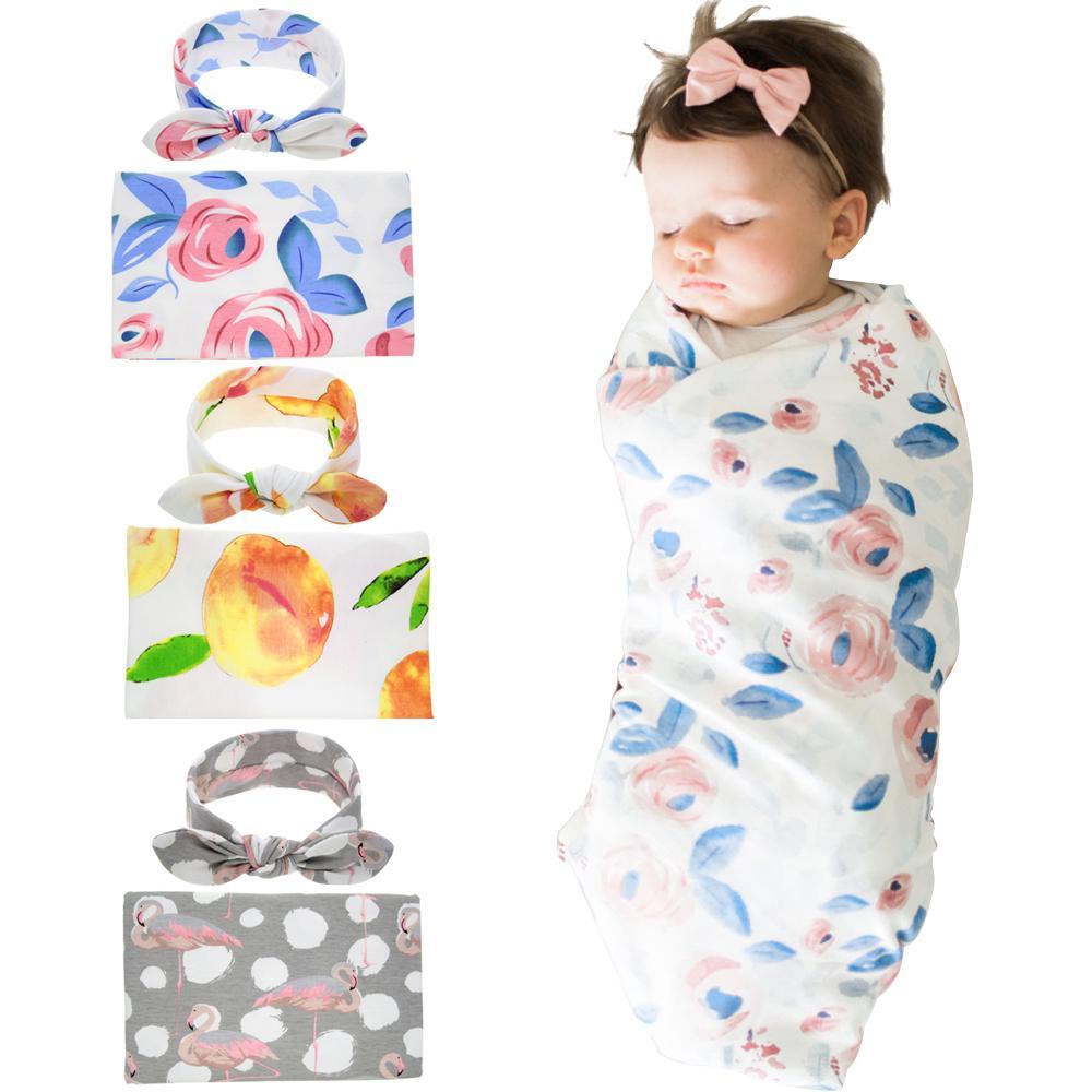 الوليد الطفل الصناديق البطانيات مع الأرنب الأذن رباطات الرضع الأزهار قماط التفاف بطانية هيرباند مجموعة الطفل القطن التفاف القماش BHB18