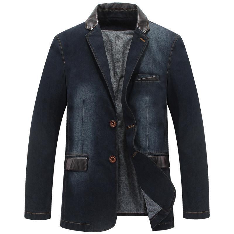 Chaquetas de hombres Otoño Denim Casual Chaqueta de mezclilla Hombres Invierno Blazer Trajes de negocios Mensajes de cuero Patchwork Jeans Coat M ~ 4XL MY190