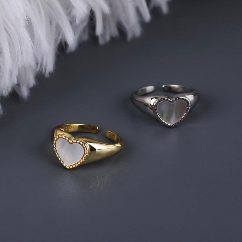 Cluster Rings 925 Sterling Silver Heart-shaped Fritillaria Ring For Women Geometry Aesthetic Irregular Accesories Engagement 2021 Jewelry