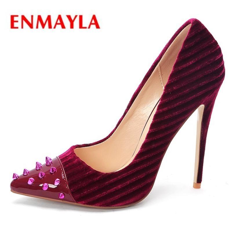 Kleidschuhe Enmayla Flock-Zeige-Zehe dünne Fersen Slip-on-Party Frau High Heel Größe34-43 Zyl2203