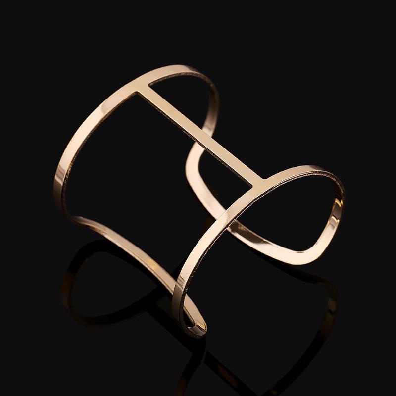 Women Luxury Hollow Bangle Bracelet Accessories Gold Silver Metal Wide Bracelet Cuff Bangle Open Adjustable Charm ps1282