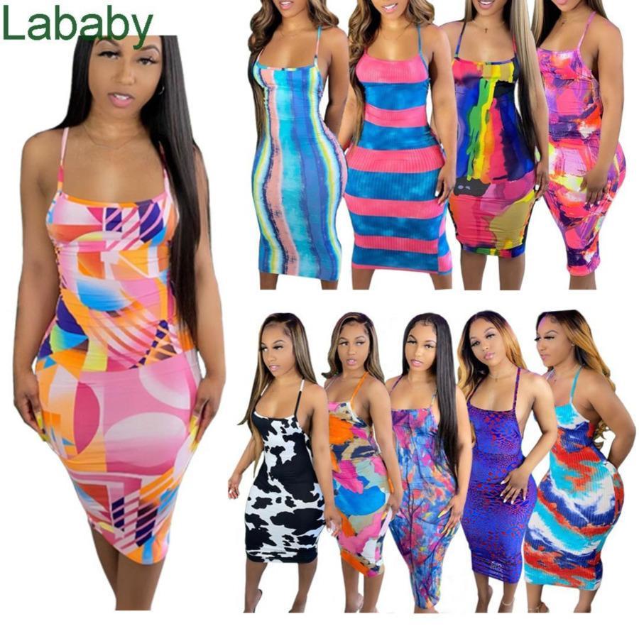 Women Dress Designer Sexy Sleeveless Sling Tie Dye Pattern Printed Long Dresses Backless Summer Printed Suspender Skirt 10 Colours