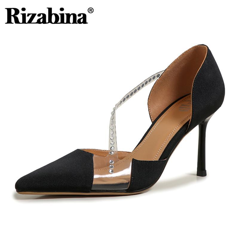 Rizabina Size 34-41 Women Sandals Real Leather Sexy Crystal Pointed Toe High Heel Summer Shoes Woman Party Office Lady Footwear