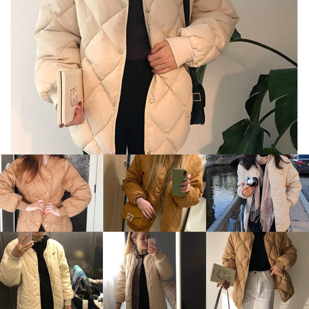 Wg55hzirip 2020 nieuwe kantoor moda casual invierno windjack jas vrouwen cálido suelto katoen jassen lange mouwen bouveding