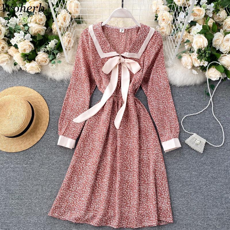 Woherb floral impreso túnica femme vintage a-line otoño otoño vestido de invierno para las mujeres elegante lindo coreano midi vendaje vestidos
