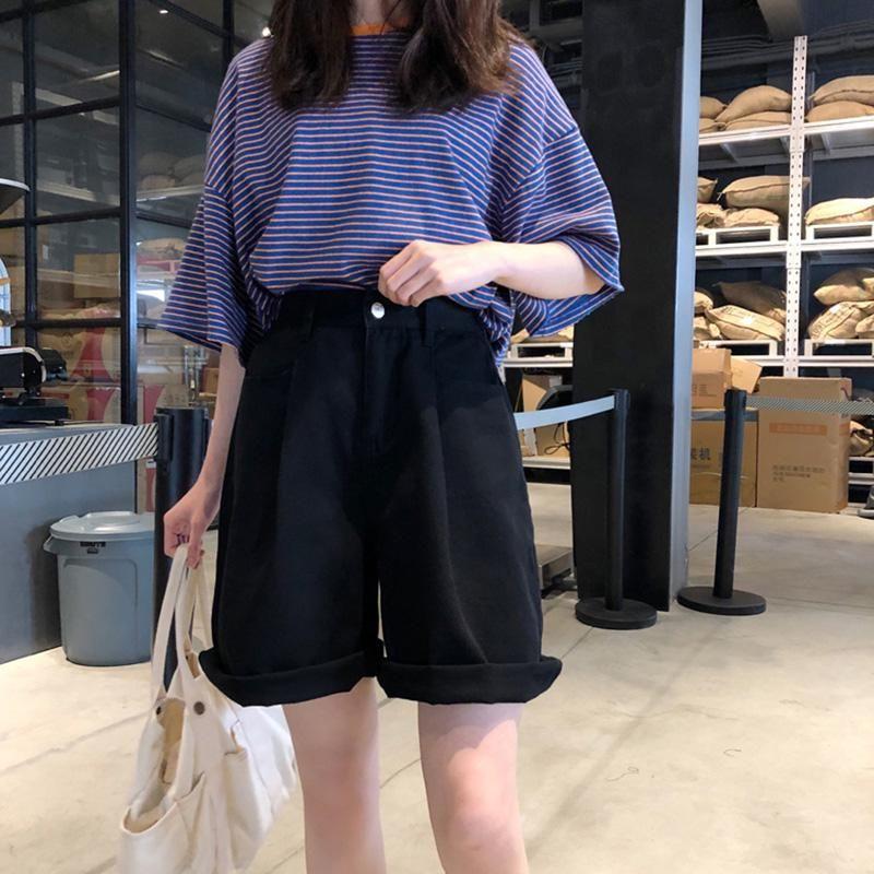 Femmes Couleur Solide High Wide Jambes Shorts Femmes Été Elastic Girl Simple Shorts